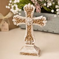 Antique Ivory Cross Statue With Matt Gold Detailing